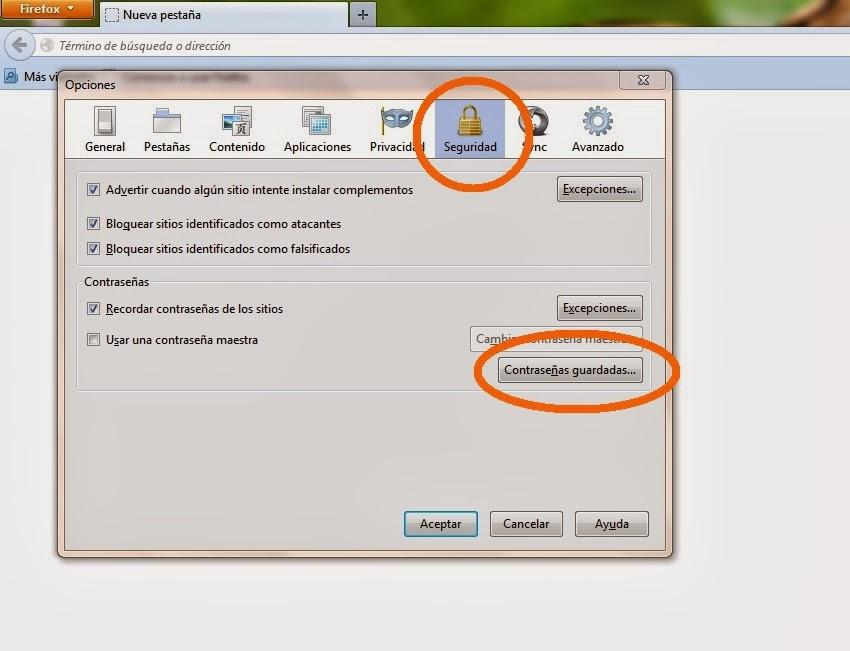 Contraseñas en Firefox - Mas Facebook