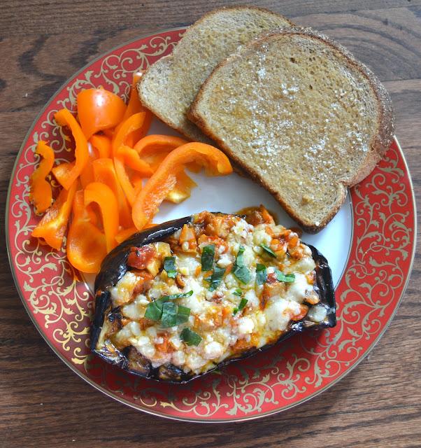 Grilled Eggplant Parmesan Boats