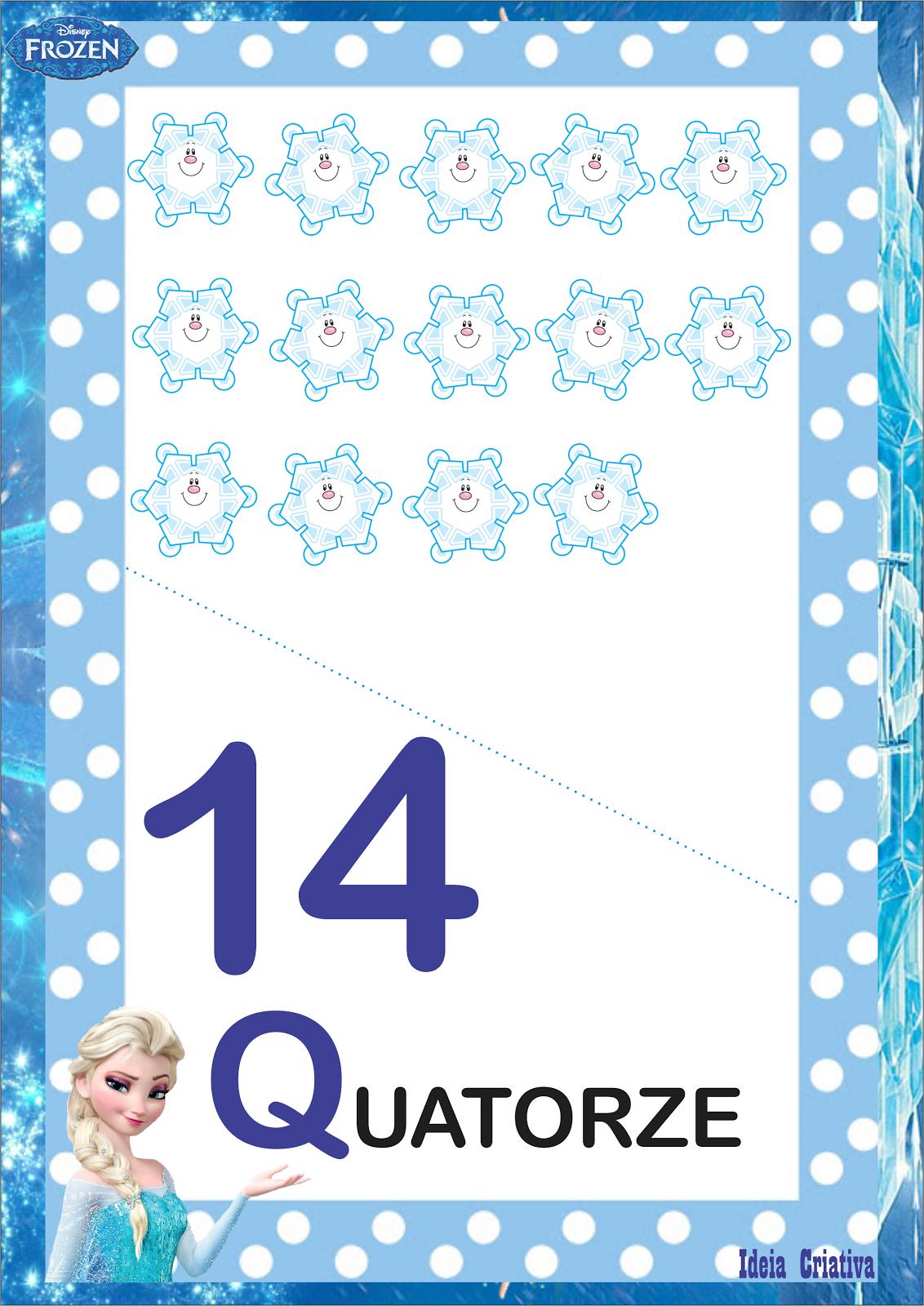 Numerais Frozen para Imprimir Grátis 0 a 20