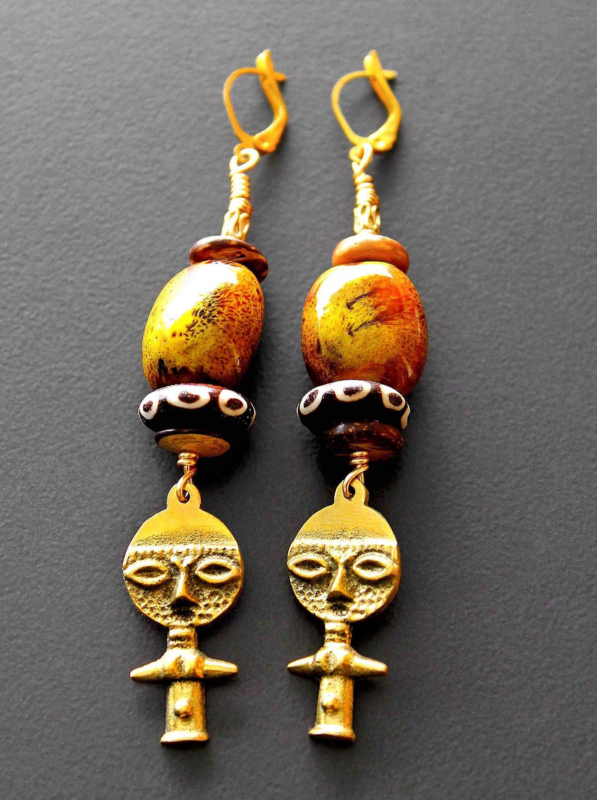 african akuaba doll earrings