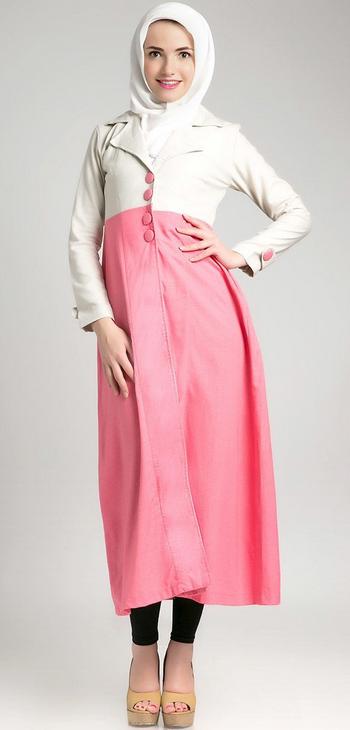 Model Baju Dress Muslim Pink