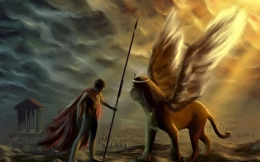 Seres mitologicos griegos Edipo+y+la+esfinge+griega