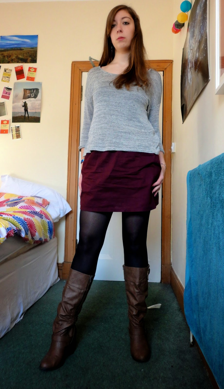 Feeling Confident - grey top, short purple skirt, brown heeled boots outfit