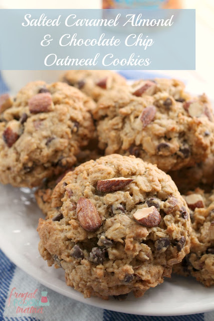These soft & thick Salted Caramel Almond & Chocolate Chip Oatmeal Cookies are chock full of hearty oats, mini chocolate chips, and crunchy salted caramel almonds. The only thing that is missing is you and a glass of milk. #ad