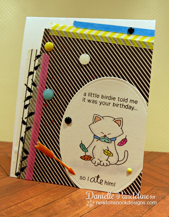 Funny Cat Birthday Card by Danielle Pandeline | Newton's Birthday Flutter Stamp set by Newton's Nook Designs