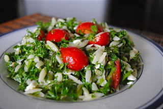 Салат из пасты орзо с зеленью
