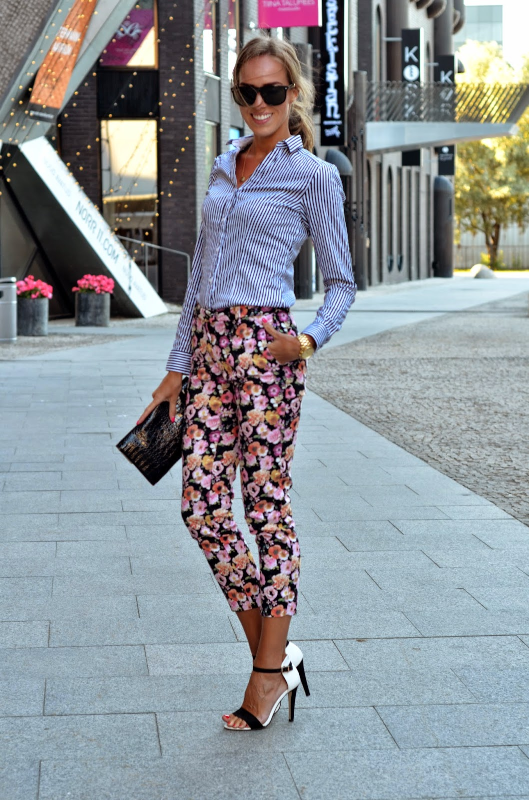 black white barely there shoes floral hm pants