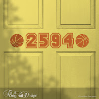 Basketbal Sports Design Custom House Number Vinyl Door Decal