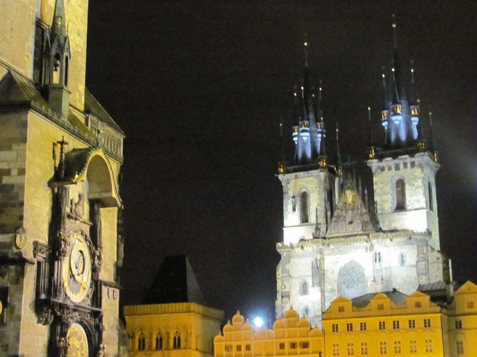 Old Town Hall (Left) and Tyn Church (Right) Prague, Czech Republic