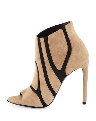 Balenciaga Nude Suede and Stretch cutout stiletto bootie