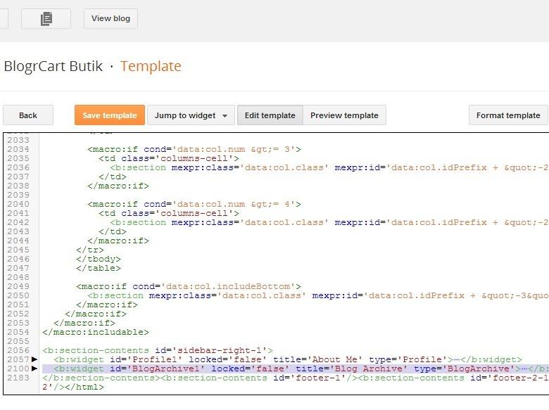 delete Archive widgets install custom blogger template