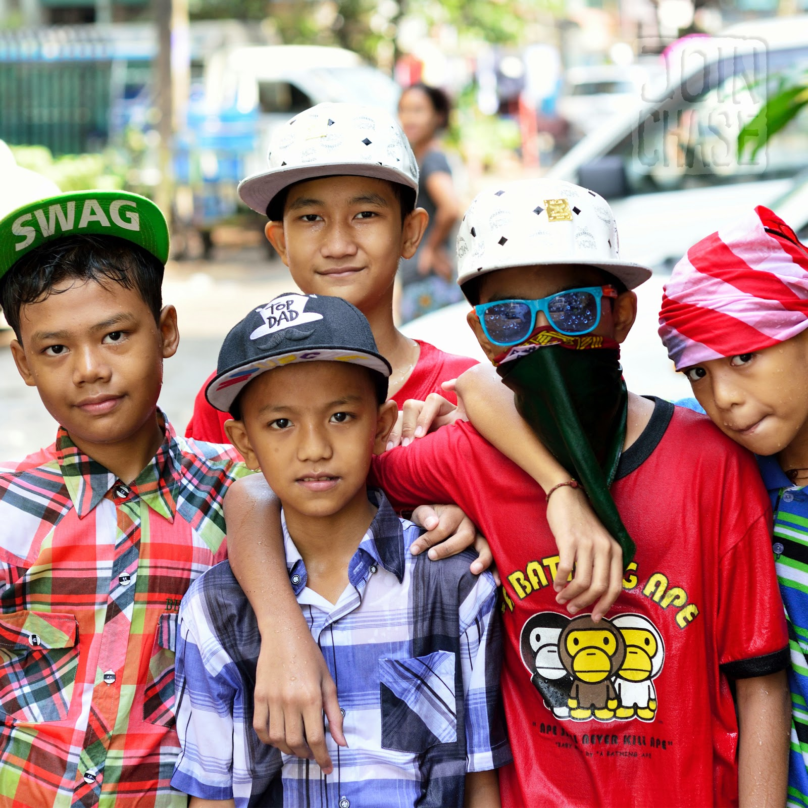 "Kids from Yangon, Myanmar, dressed in ""Western"" attire."