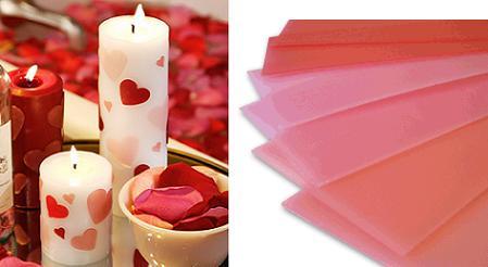 Velas con corazones para San Valentín
