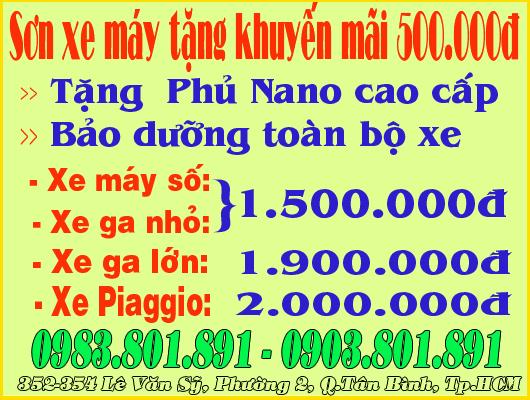 Sơn xe máy tặng khuyến mãi 500.000đ