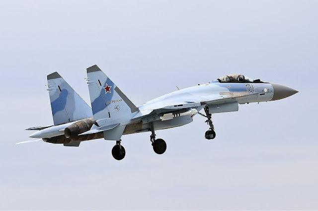 Blue Sukhoi Su-35 takeoff