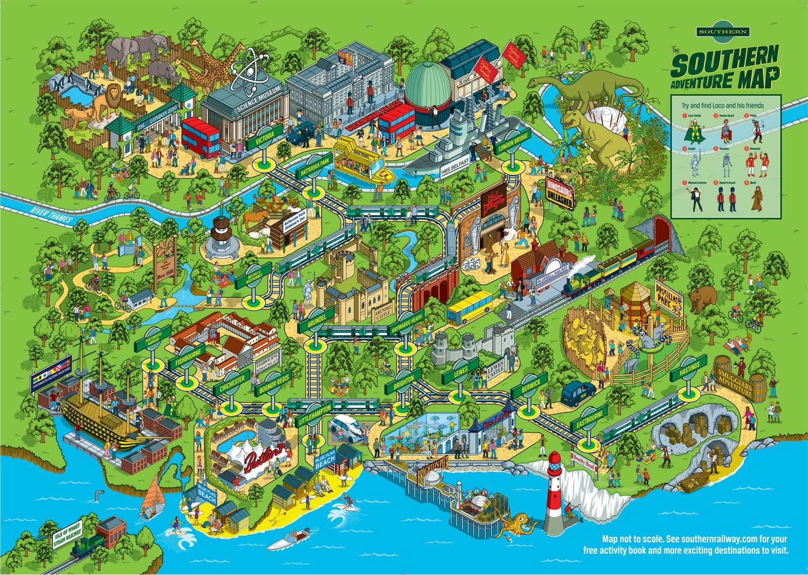 southern railway southern adventure tourist attraction rail map as theme park
