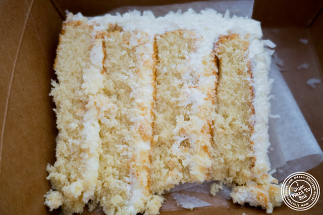 image of coconut cake at Schnackenberg's in Hoboken, NJ