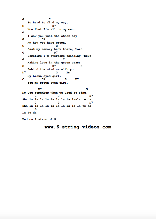Guitar Tabs: Lyrics And Chords For: Brown Eyed Girl