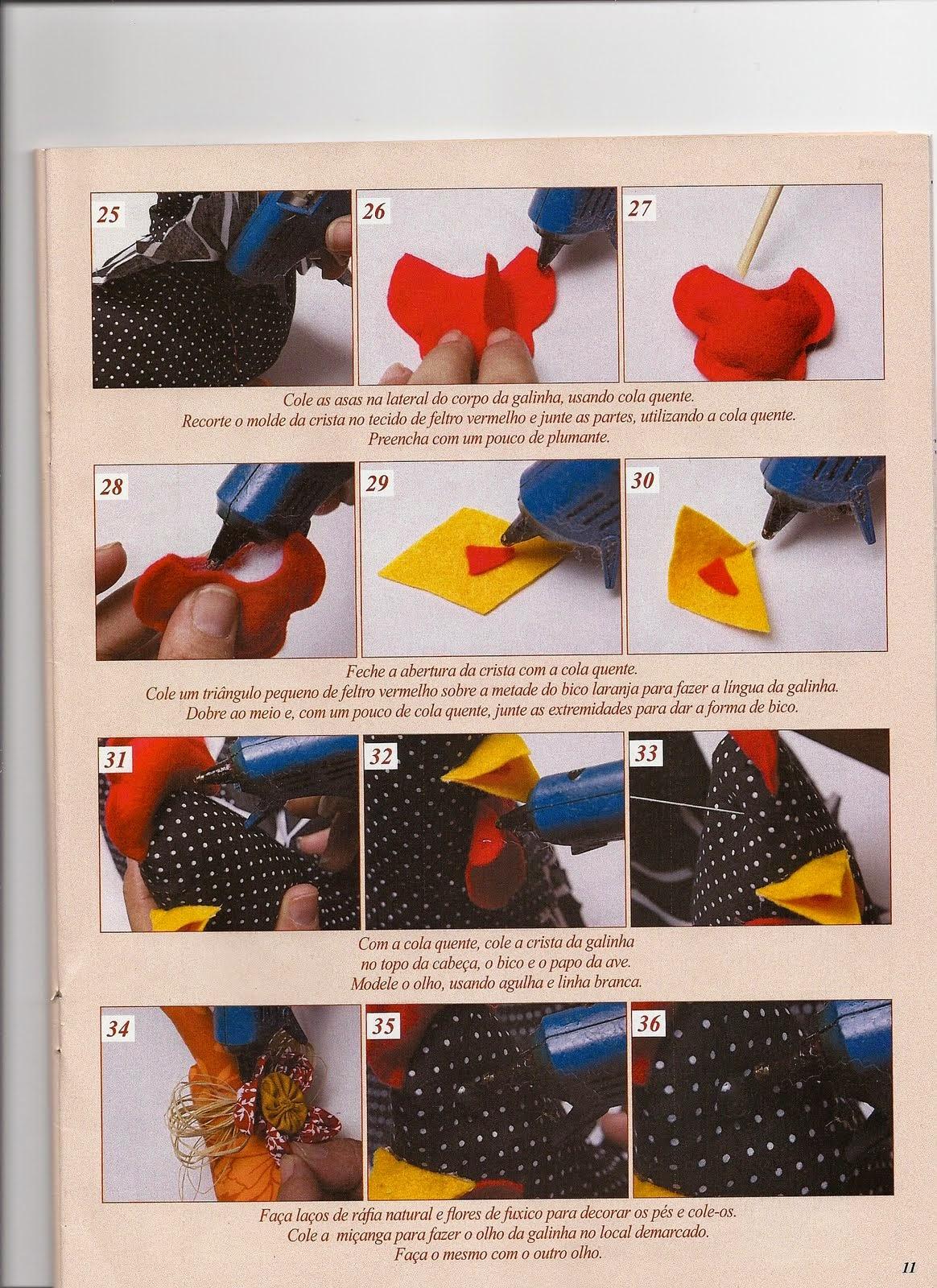 Moldes e passo a passo galinha cocoricó