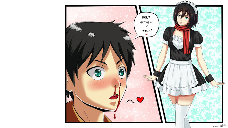 Mikasa Ackerman maid dress, Eren Jaerger / Yeager Nosebleed