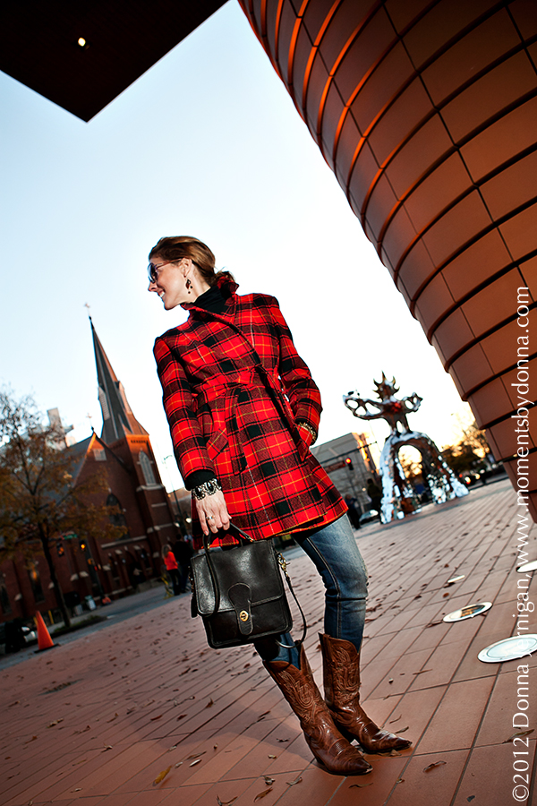 Pendleton Classic Tartan Plaid, Zara ripped jeans, Charlie 1 Horse Boots, Blinde Sunglasses, Bechtler Museum Charlotte, NC, the Queen City Style, Coach Bag, Moments by Donna, Donna Jernigan Photography