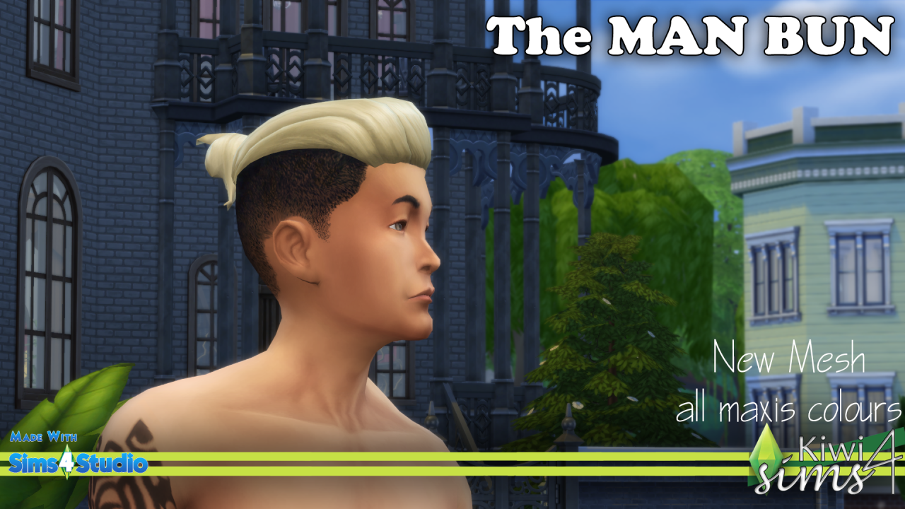 Buff Man Bun Kiwisims4 The Man Bun Hair