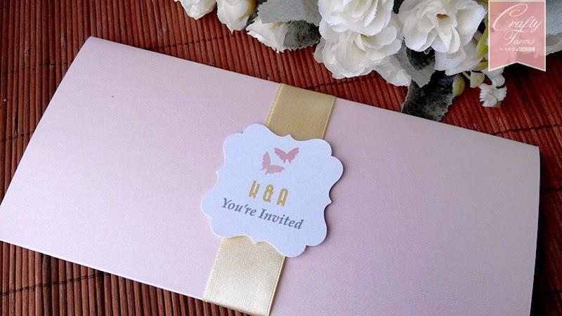 Pink Blush and Cream Boarding Pass Wedding Card