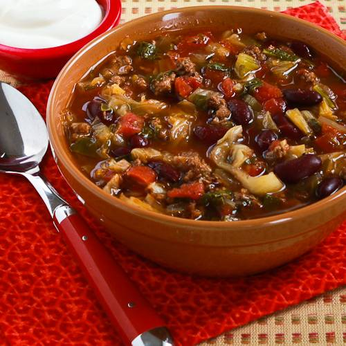 ... Slow Cooker Recipe for Spicy Ground Beef and Bean Soup with Cabbage