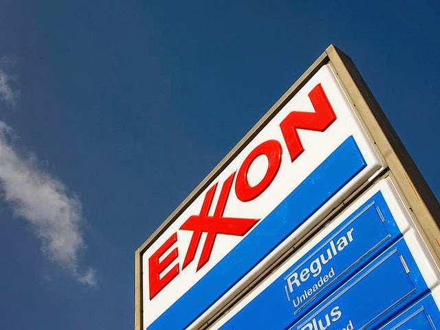 Gas station sign Exxon