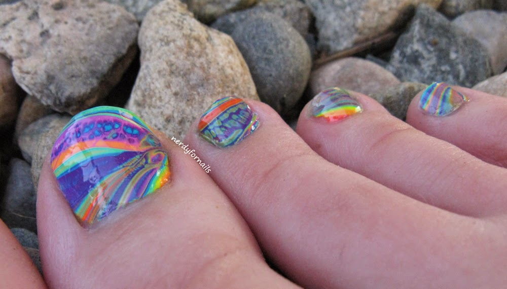 China Glaze Electric Nights Collection Summer 2015 Rainbow Water Marble Pedicure