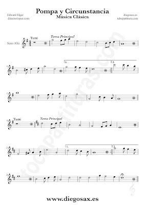Tubepartitura Pompa y Circunstancia de Edward Elgar partitura de Saxofón Alto canción de Música Clásica