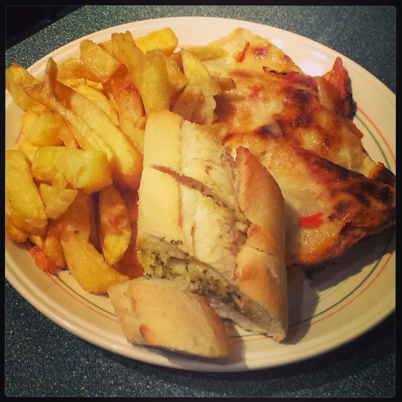Lasagne, Chips and Garlic Bread