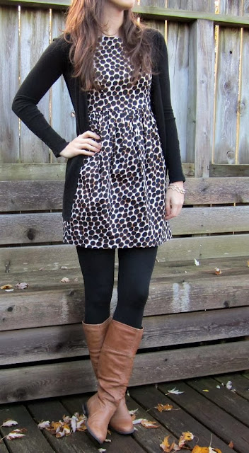 Doted Dress, Cardigan,Black Tights, & Brown Boots
