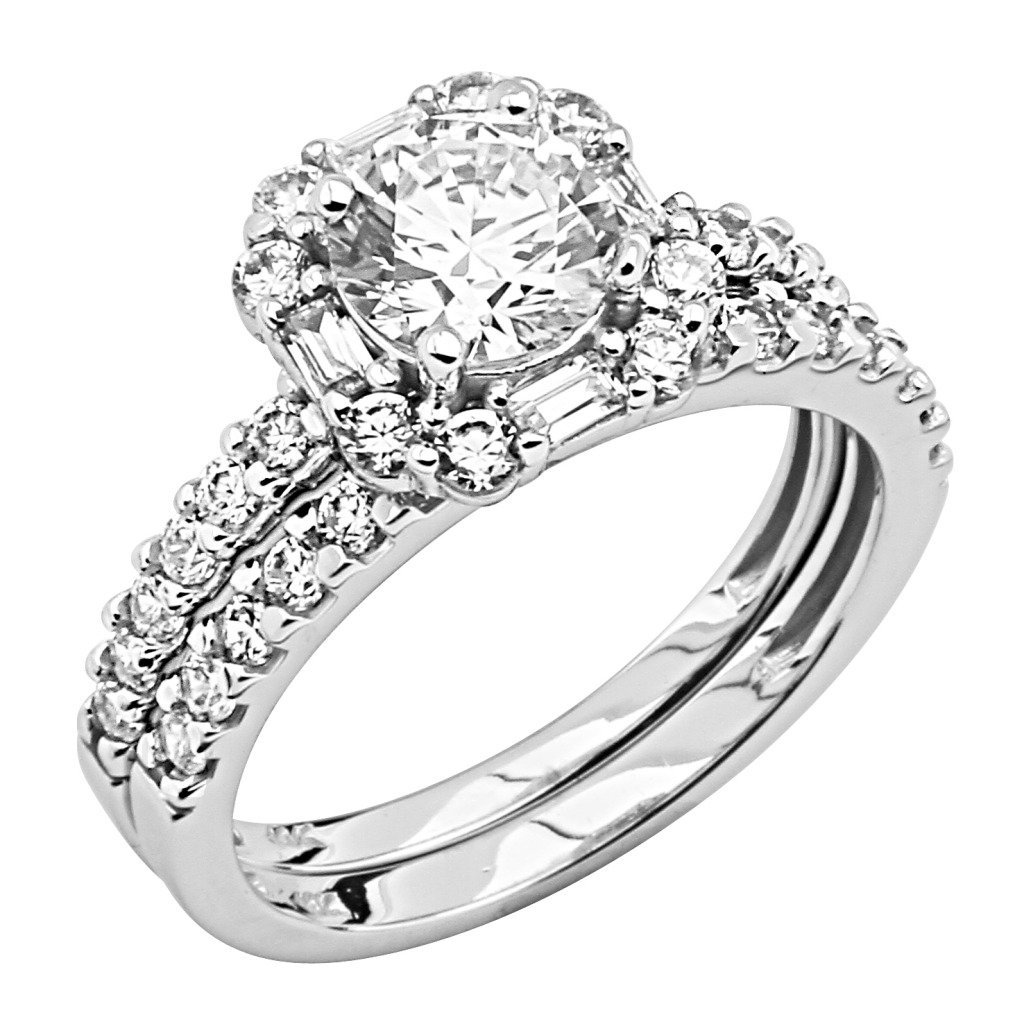 ... Ladies Wedding Engagement Ring  Wedding Band 2 Two Pieces Set - Size