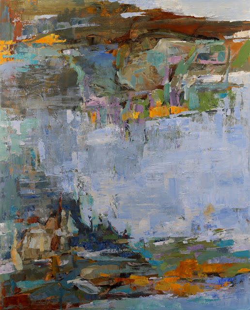 A Cool Blue Day - abstract painting by Karri McLean Allrich in ocean colors and thick, gorgeous paint. 52x42 inches.