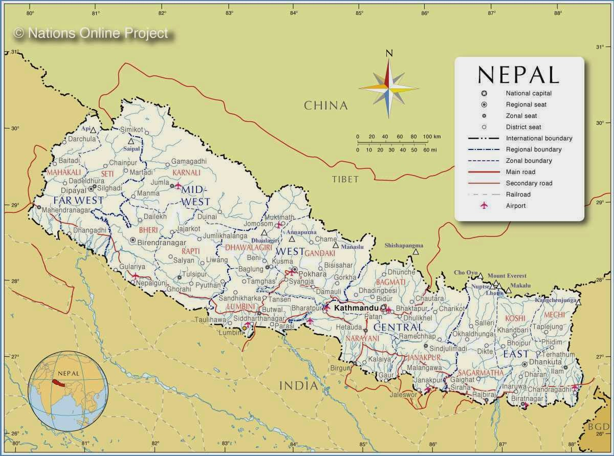 Political Maps of Nepal Free Printable Maps