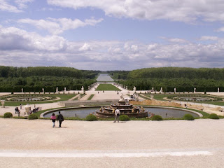 view from the back of the palace of versailles in france