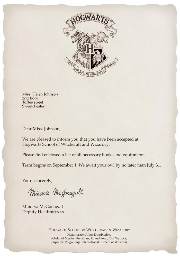 ¿Quieres tu propia carta personalizada de Hogwarts?