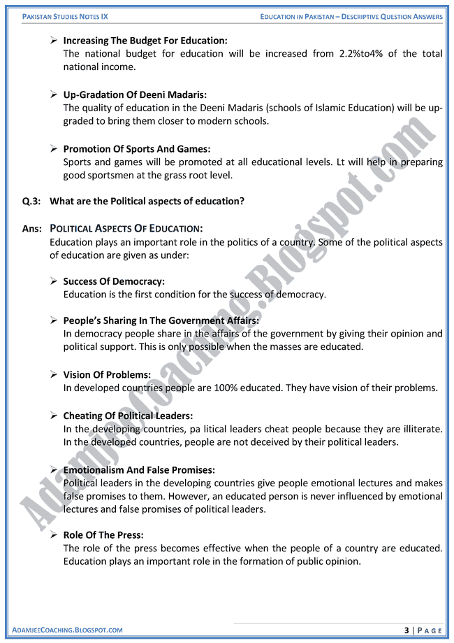 education-in-pakistan-descriptive-question-answers-pakistan-studies-ix