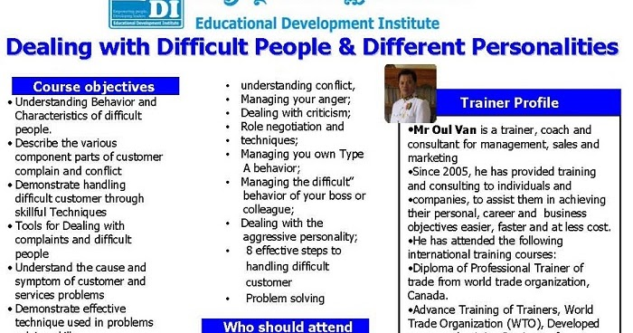 tips for trainers in dealing with difficult trainees How to deal with difficult people no tips for constructively.