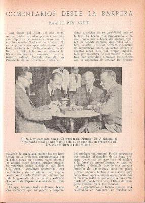 Artículo de doctor Rey Ardid sobre el XVIII Campeonato de España de Ajedrez 1957