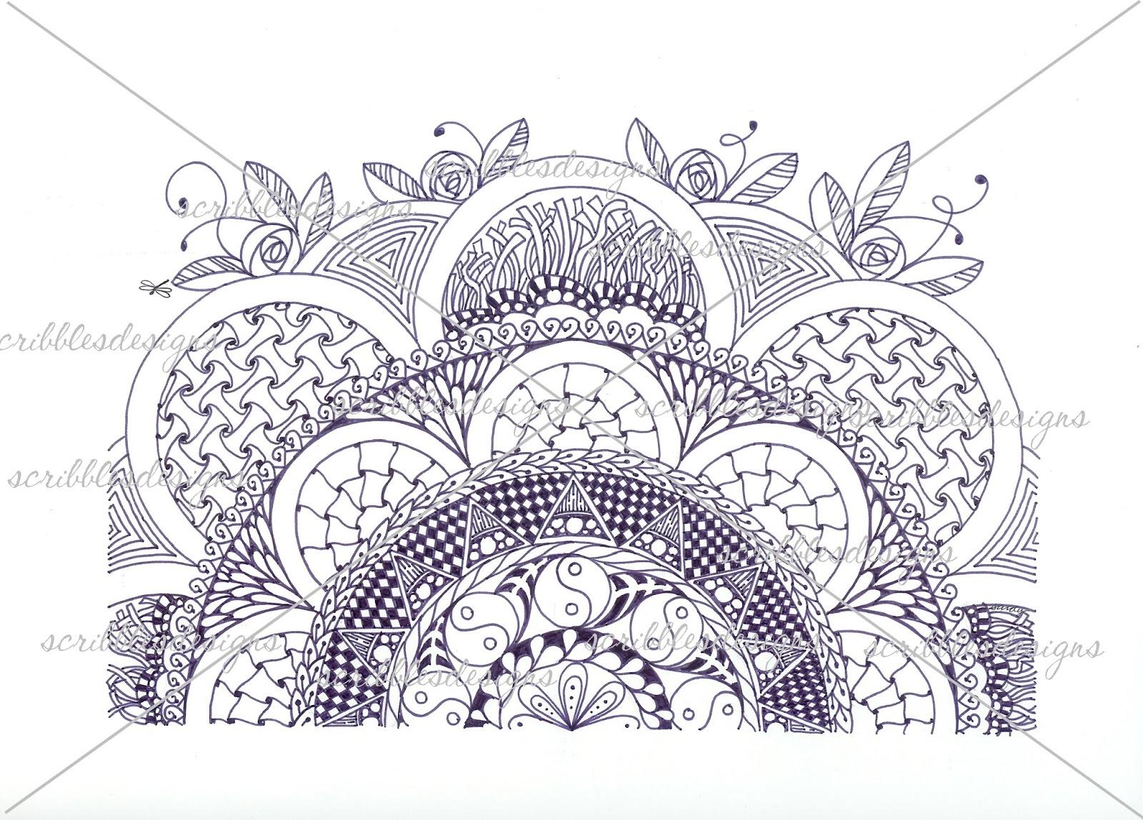 Zen coloring flowers -  A 39 Zen Flower Half Medallion 5 00