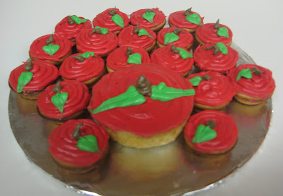 Teacher's Mini Apple Cupcakes with Bigger Apple Cupcake