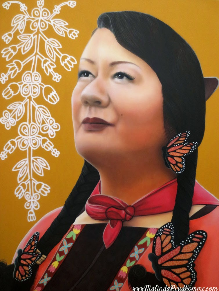 plains cree woman, aboriginal woman, native woman, canadian native, butterflies, beauty art, true beauty, malinda prudhomme, portrait art, toronto portrait artist, realism, portrait painting, canadian artist, realistic portraiture