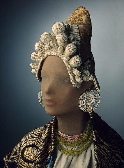 Traditional head wear of Russia made from brocade and decorated with glass beads and embroidery