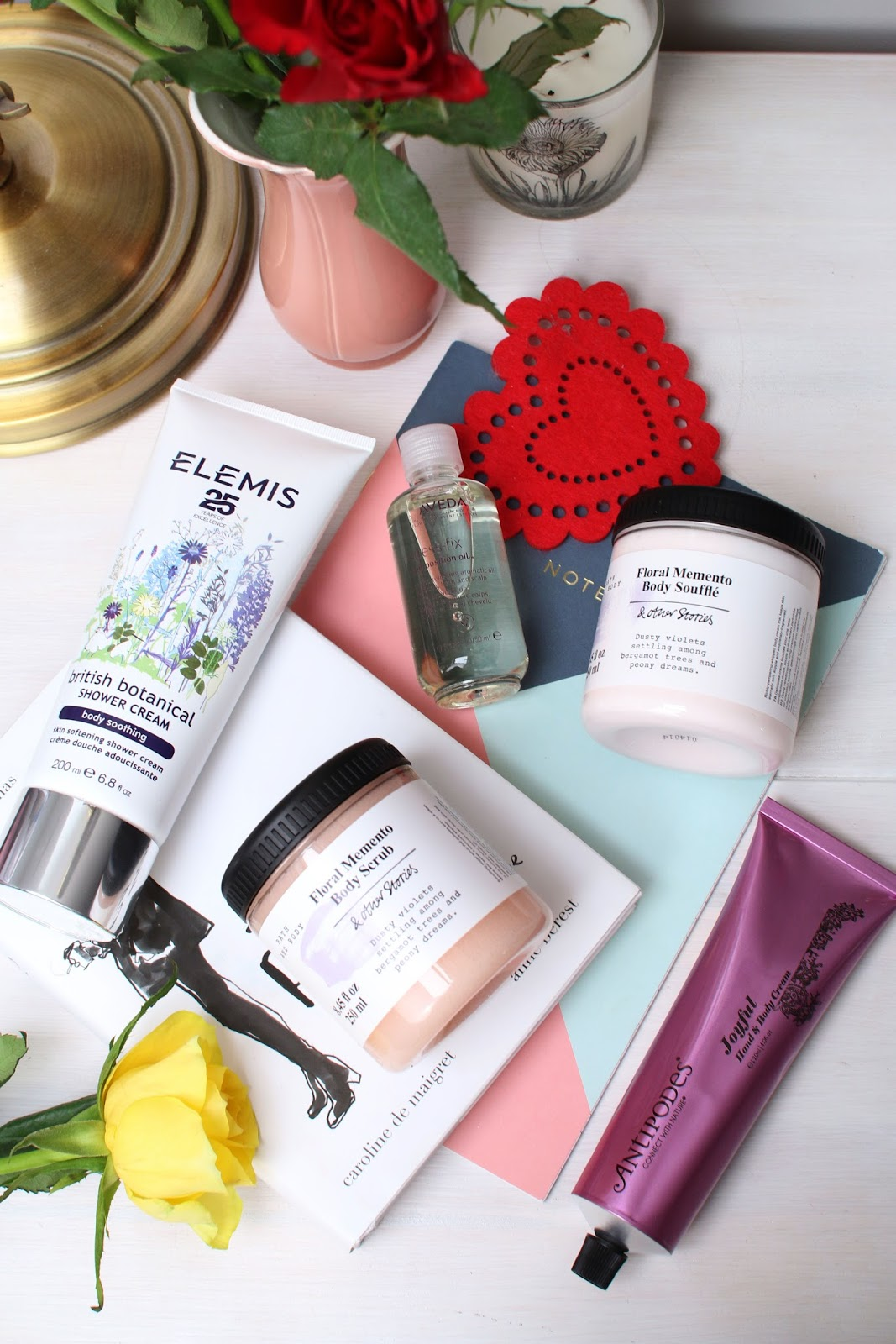 Much Needed Body TLC with Antipodes Joyful Hand Cream, & Other Stories Floral Memento Body Scrub, Floral Memento Body Souffle, Elemis British Botanical Shower Cream and Aveda Stress Fix Oil