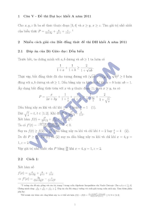 nhiều cách giải cho câu V đề thi đại học môn Toán khối B năm 2011