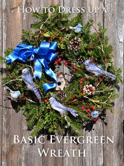 Bluebird and Red Berry Evergreen Wreath How-to
