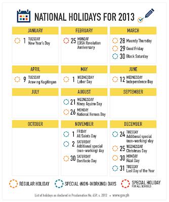 2013 National Holidays