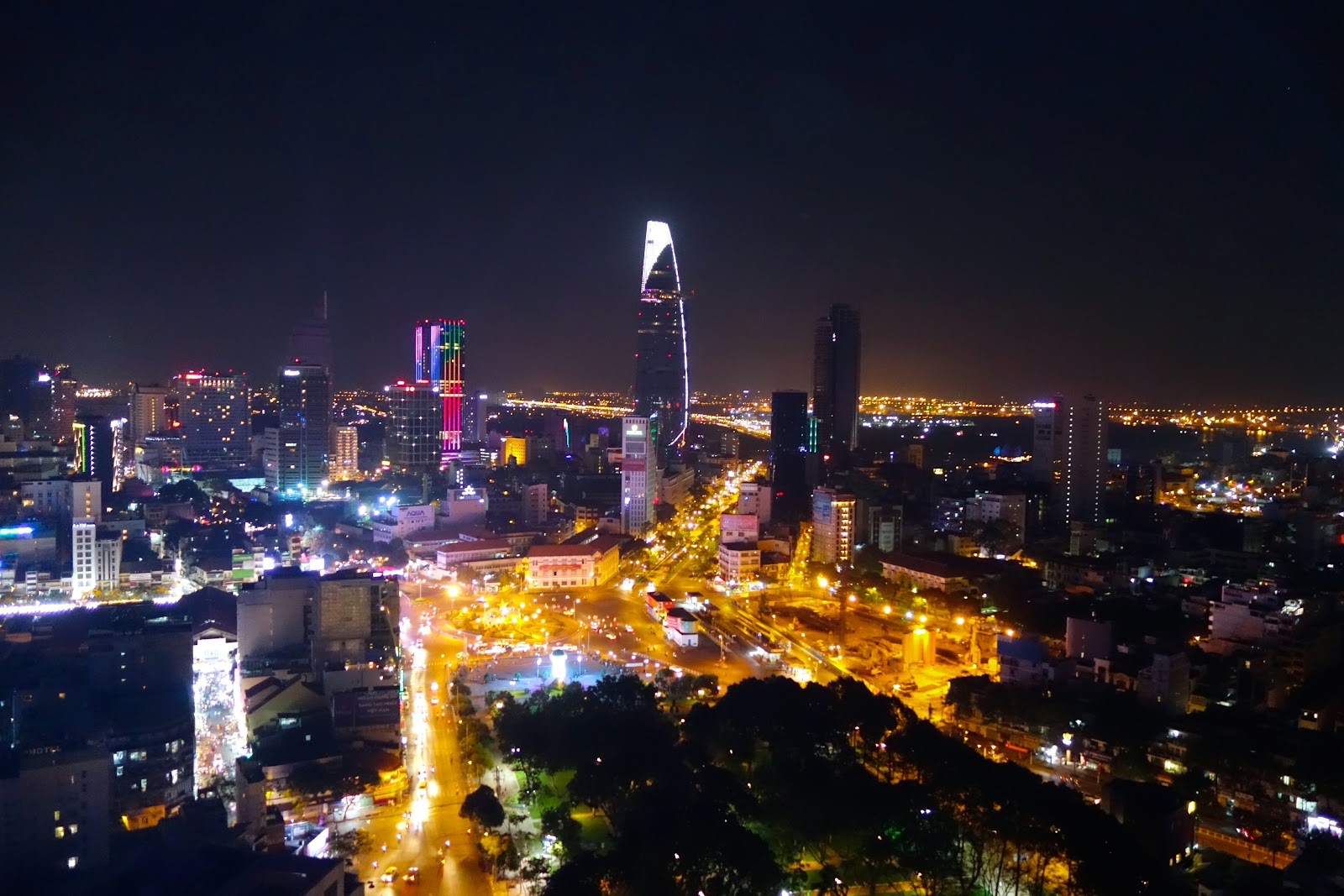 Sky Bar View of Ho Chi Minh City Vietnam at night